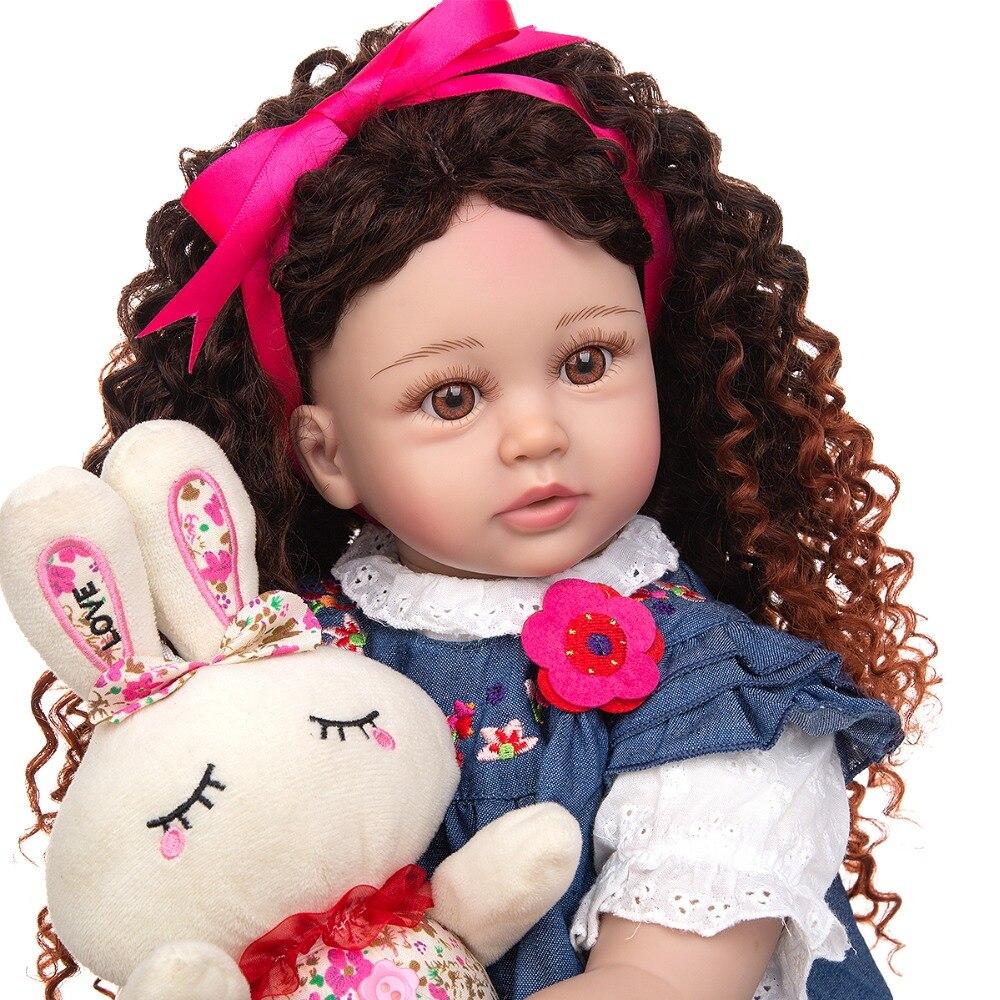 New Design Density Curls As Princess Reborn Baby Dolls Lifelike 60 CM Toddler Bebe Dolls Toy Kids Cosplay Playmate Birthday Gift